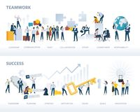 Set of flat design web banners of teamwork and success, isolated on white Stock Photos