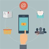 Set of flat design web icons for mobile phone services and apps. Concept: marketing, email, video Stock Photography