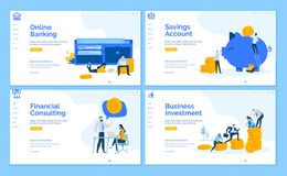 Set of flat design business web page templates. Set of flat design web page templates of online banking, financial consulting, savings, business investment vector illustration