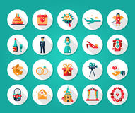 Set of flat design wedding and marriage icons Stock Image
