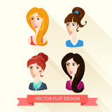 Set of flat design women's portraits. Royalty Free Stock Photos