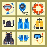 Set of flat elements for spearfishing diving underwater protective sea diver equipment vector professional hunter tools. Royalty Free Stock Image