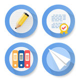 Set of flat document icons Stock Photos