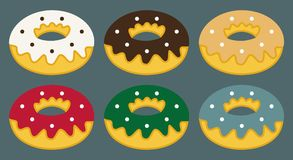 Set of flat donuts, donuts icon and elements Stock Photo