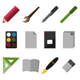 Set of flat drawing and writing icons. Set of 12 flat drawing and writing icons vector illustration