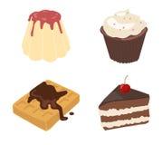 Set Of Flat Drawn Sweets Royalty Free Stock Photos
