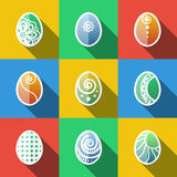 Set of Flat Easter Eggs Icons Royalty Free Stock Photos