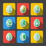 Set of Flat Easter Eggs Icons Royalty Free Stock Photography
