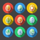 Set of Flat Easter Eggs Icons Stock Photo