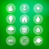 Set of flat eco icons on blurry green background Royalty Free Stock Photography