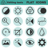 Set of flat editing icons. Contrast, brightness, hue, color, filter, curve, levels symbols. Vector illustration  on white background Royalty Free Stock Photography