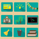 Set of flat education icons Royalty Free Stock Images
