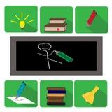 Set of flat education icons Stock Photos