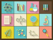Set of flat education icons for design Stock Photos