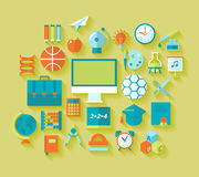 Set of flat education and school icons for design Stock Images