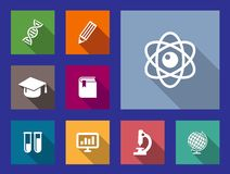 Set of flat education and science icons Royalty Free Stock Images
