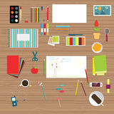 Set of flat educational objects Stock Photography