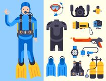 Set of flat elements for spearfishing diving underwater protective sea diver equipment vector professional hunter tools. Set of flat diving elements for Stock Photos