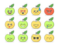 Set of flat emoticons: cute cartoon apple with different emotions. Vector illustration Stock Photo