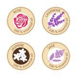 Set of flat essential oil labels. 100 percent. Rose, lavender, jasmine, sage. Set of flat essential oil labels. Rose, lavender, jasmine, sage. Logo collection Stock Photo