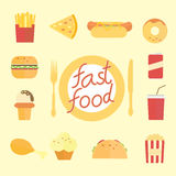 Set of flat fast food icons Royalty Free Stock Photography