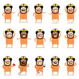 Set of flat firemen cartoon character icons. Vector image of the Set of flat firemen cartoon character icons Royalty Free Stock Photos