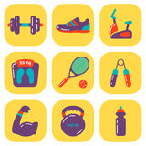 Set of flat fitness icons Stock Images