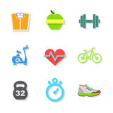 Set of Flat Fitness Icons. Vector Stock Image