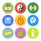 Set of Flat Fitness Icons. Vector Royalty Free Stock Photo