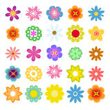 Set of flat flower icons in silhouette . Cute retro design in bright colors flowers. Royalty Free Stock Photo