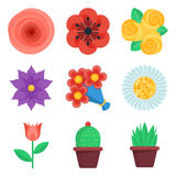 Set of flat flowers vector icons Stock Photography