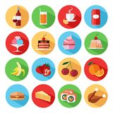 Set of flat food and drinks icons set. Vector illustration royalty free illustration