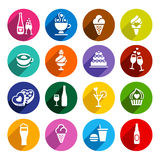 Set flat food icons Stock Images