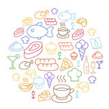 Set of flat food icons drawing line Circular Shaped Royalty Free Stock Image