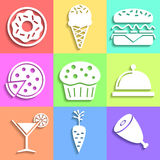 Set of flat Food icons Stock Image