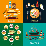 Set of flat food infographics. For Bakery, Dinner, Tea and Seafood with colorful various ingredients around a central theme, product or cooked food item Stock Photography