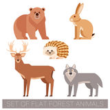 Set of flat forest animals Royalty Free Stock Photo