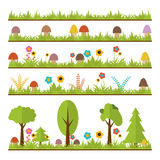Set of flat forest design elements. Mushrooms, grass, berries, t Royalty Free Stock Photography