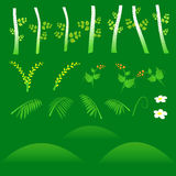 Set of flat forest elements. Include grass, flowers, berries, bushes and trees. Vector illustration Stock Photography