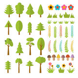 Set of flat forest elements. Include mushrooms, grass, berries, Stock Image