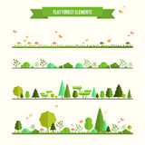 Set of flat forest elements Stock Photo