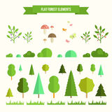 Set of flat forest elements. Trendy and beautiful set of flat forest elements. Include grass, mushrooms, berries, bushes and trees Stock Images