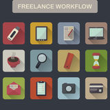 Set of flat freelance workflow icons Stock Images