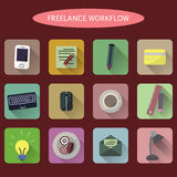 Set of flat freelance workflow icons Royalty Free Stock Image