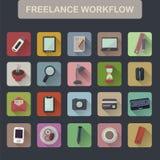 Set of flat freelance workflow icons Royalty Free Stock Image