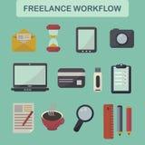 Set of flat freelance workflow icons Stock Photo