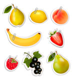 Set of flat fruit stickers with paper clips. Royalty Free Stock Image
