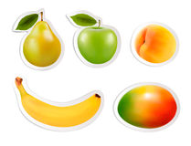 Set of flat fruit stickers. vector illustration