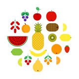 Set of flat fruits and berries icons. Royalty Free Stock Images