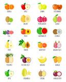 Set of flat fruits. royalty free stock images